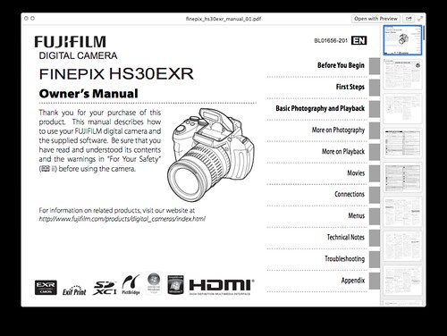 Fujifilm HS30EXR Manual