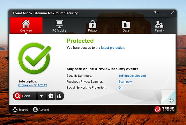 Trend Micro Titanium Maximum Security 2013 - Screenshot