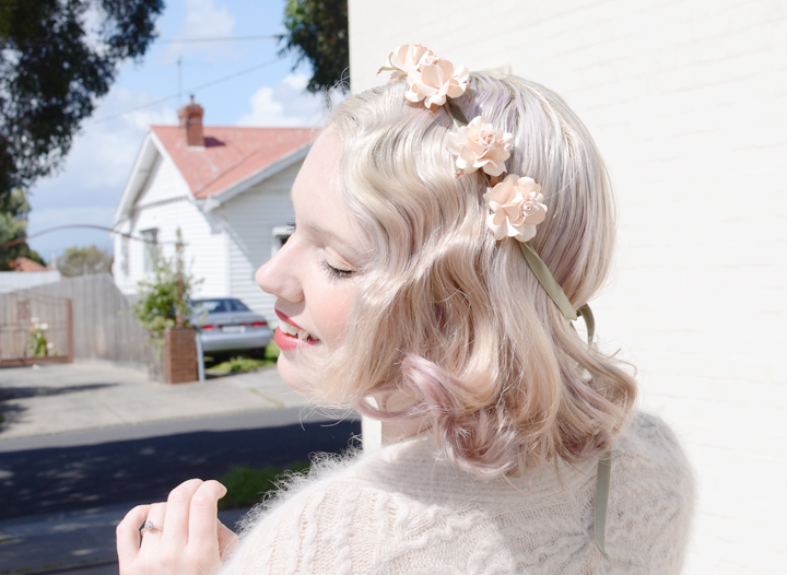 finger waves floral crown a