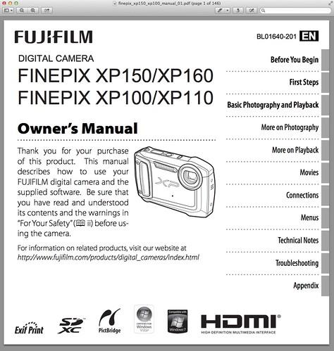 Fujifilm XP150 Manual