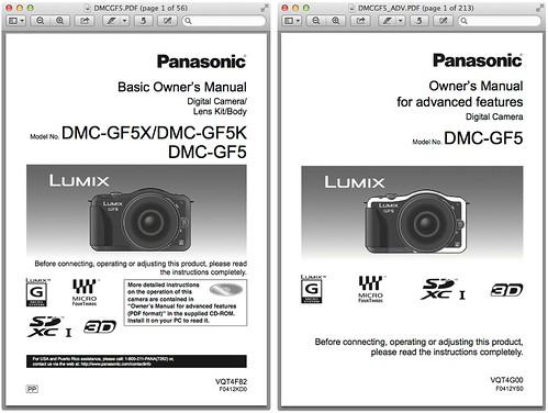 Panasonic GF5 Manual -- Basic & Advanced Manuals