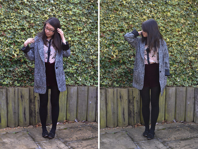 daisybutter - UK Style and Fashion Blog: what i wore, ootd, wiwt, AW12, glamorousuk, topshop, velvet, deer print