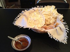 Cumin papadums with mangochutney