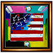 Peter Max Mixed Media Painting-Flag with heart by Original Art & Pantings