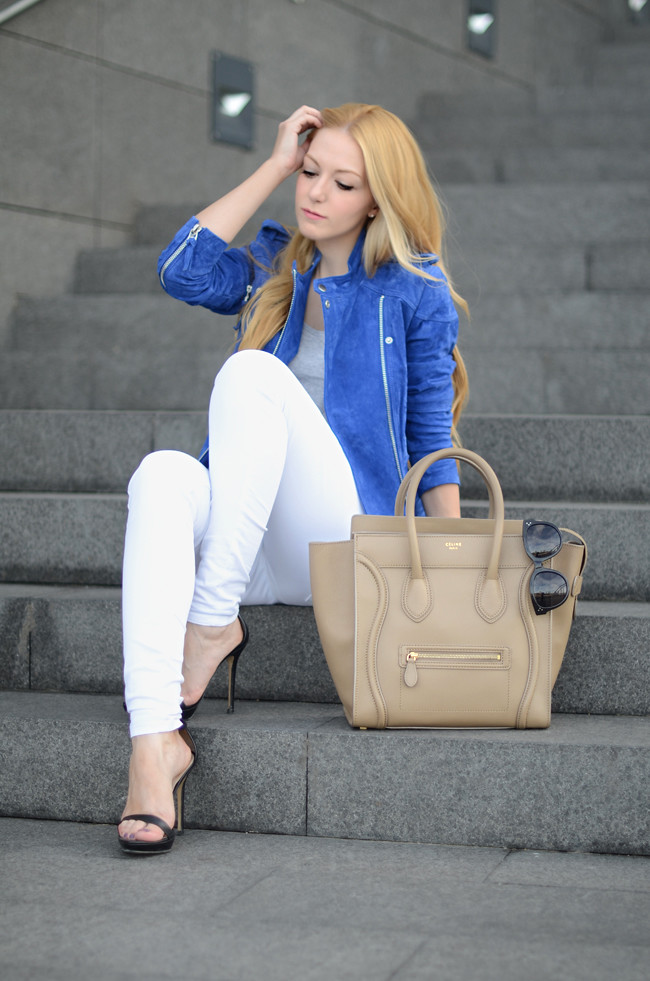 OhMyVogue : Mango suede jacket White jeans Celine Mini Luggage camel bag Celine sunglasses YSL Arty ring bright blue fall
