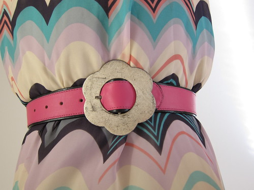 Crisca Flower Pink Black Two-Tone Leather Belt S
