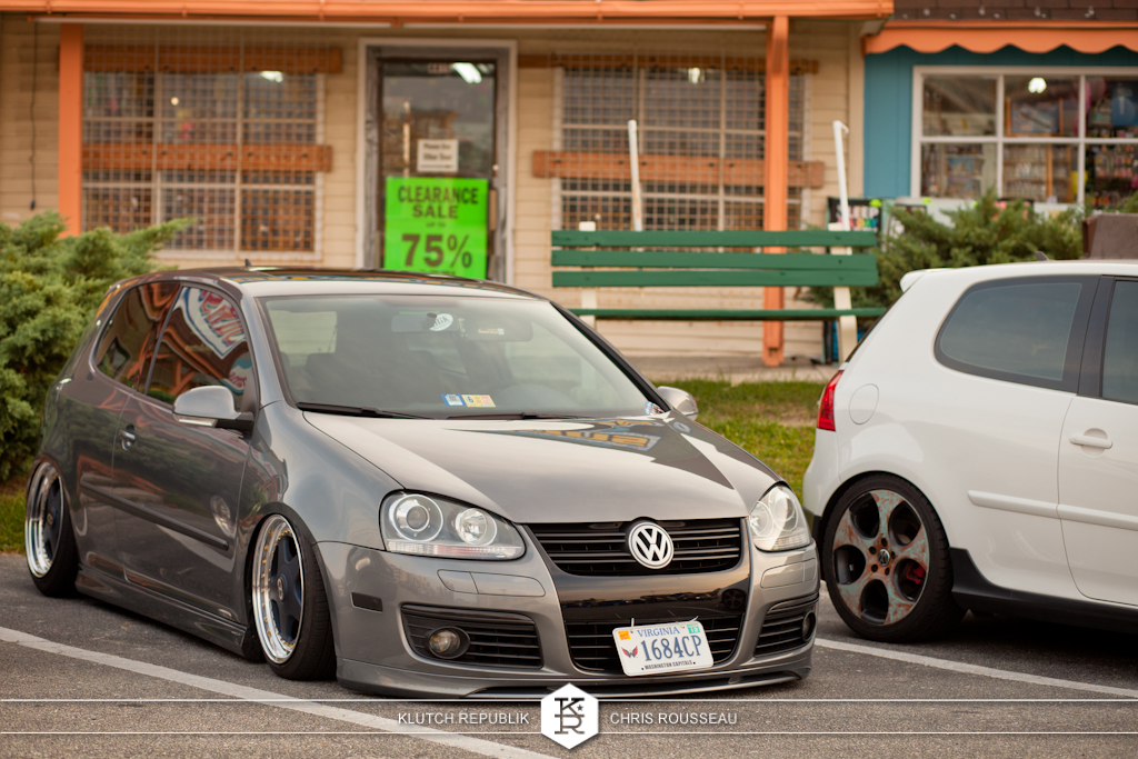 grey vw mk5 golf gti oz futuras blue  at h2oi 2012 3pc wheels static airride low slammed coilovers stance stanced hellaflush poke tuck negative postive camber fitment fitted tire stretch laid out hard parked seen on klutch republik