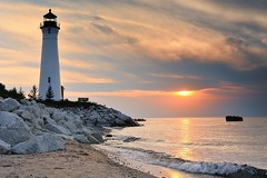 Crisp Point Lighthouse Sunset - Lake Superior, Upper Michigan by Michigan Nut