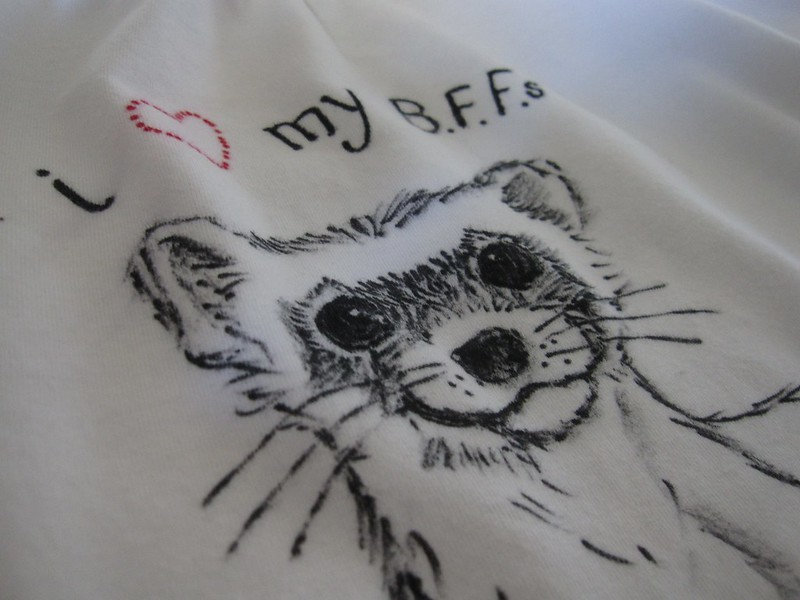 black footed ferret drawing on tshirt