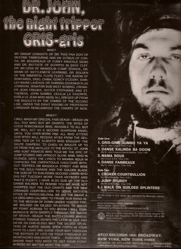 Sleevenotes for Gris Gris, Dr John The Night Tripper