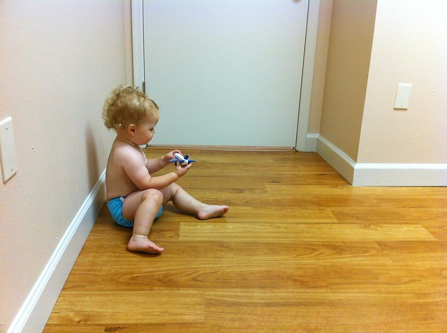 Waiting for the doctor at George's 18 month appointment.