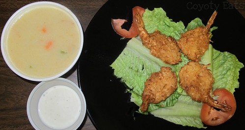 Coconut shrimp with buttermilk ranch dressing, and roasted corn & clam chowder by Coyoty