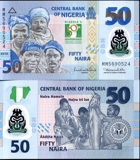 50 Naira Nigéria 2010 polymer, prítlač