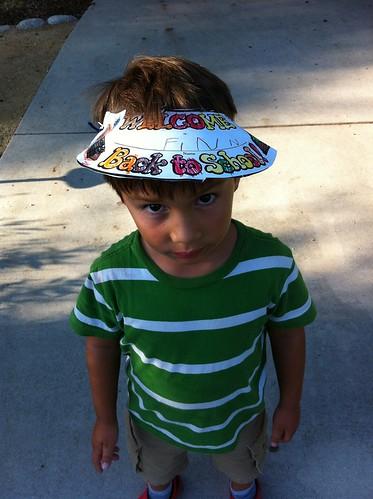 Finn's new hat from week one of kindergarten