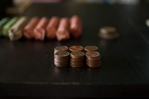 sorting pennies