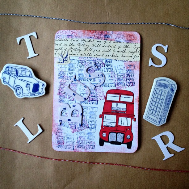 Last one now and all of the ones I've posted will be blogged later on my giveaway blog so keep an eye open for it. #bus #words #red #white #blue #postcard  #numbers #bird