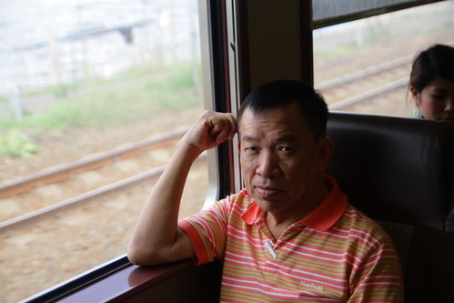 Dad on the train to Otaru