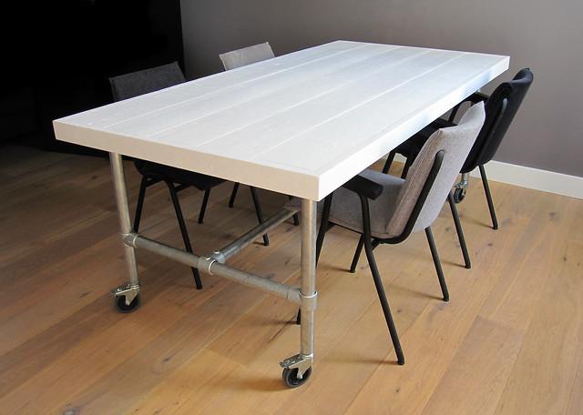 Eettafel Industrial  Wit steigerhout  Te koop bij w00tdesign ...