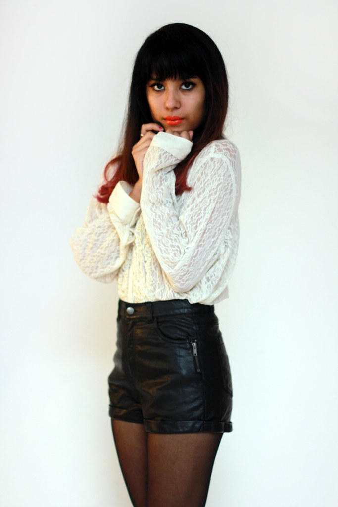 Tarte Vintage via shoptarte.com: oversize lace button-up blouse and pleather high waist shorts