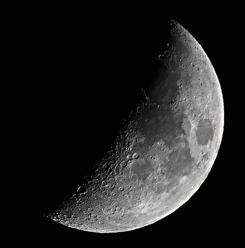 Waxing Crescent, 42% of the Moon is Illuminated taken on an overcast September 21, 2012 with a FUJIFILM X-S1 using a 1.7x teleconversion lens DSCF6894 by Ted_Roger_Karson