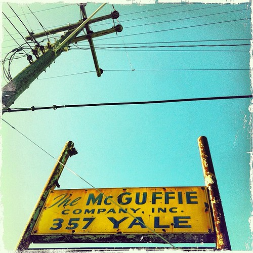 "Vintage sign for ""The McGuffie Company,"" ""357 Yale"" -- in Houston, Texas"