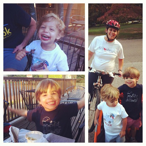 Perfect Sunday night...family bike ride to Cheffie's for dinner and ice cream.