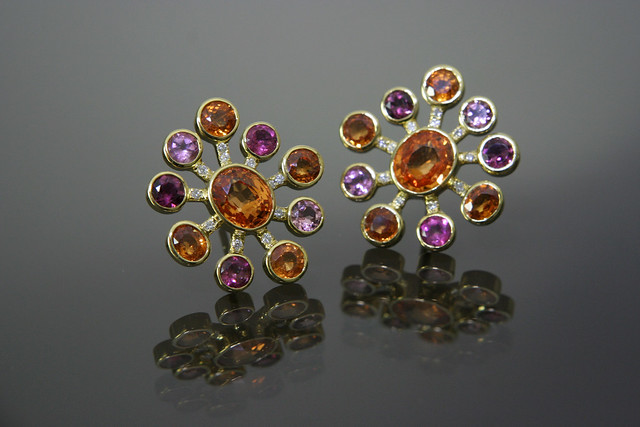 PSearrings of mandarin garnets tourmalines and diamonds in yg