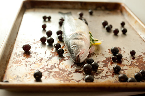 branzino with roasted grapes