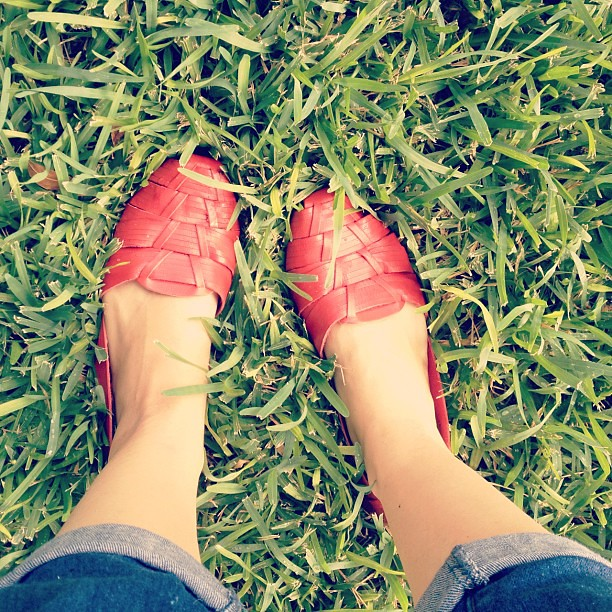 New(ish) red shoes and green grass. What's on your feet? @leavesofmytree @letslassothemoon @salsapie