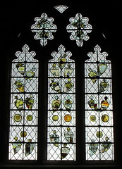 Medieval glass fragments, a window of the Church of St Mary, Fairford, Gloucestershire, England