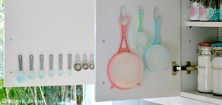 Organized cupboard door storage
