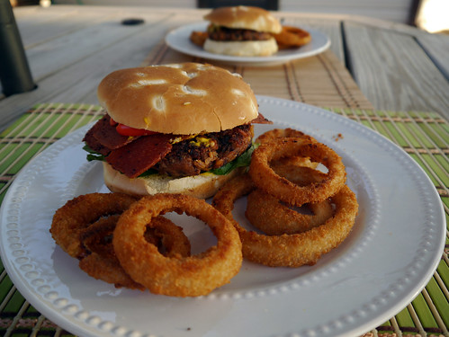 Black Bean Burger with Onion Rings from Vegan Junk Food (0023)