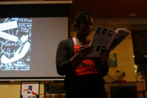 Osa reads at Rachael's Cafe for Race Riot! Tour in Bloomington, IN Oct 2, 2012