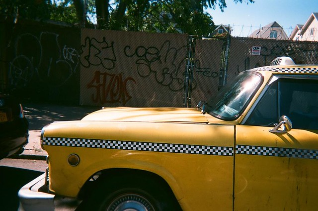 Checker cab on Nostrand Av