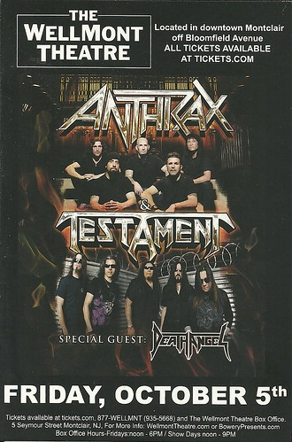 10/05/12 Anthrax/ Testament/ Death Angel @ Wellmont Theatre, Montclair, NJ