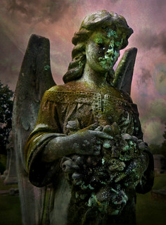 Angel with Bouquet of Flowers:  Old Cherry Hill Cemetery, Greenville, North Carolina
