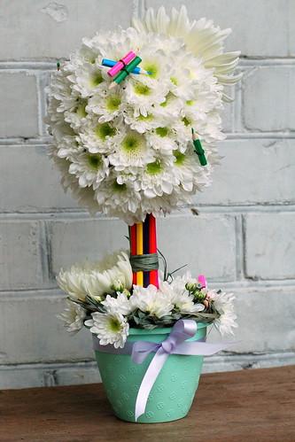 Цветочная композиция из живых цветов своими руками на день учителя 37