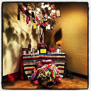 #diadelosmuertos , #altar, #shrine by yoli manzo at Vox Studio. 2nd Saturday show. Oct. 13th