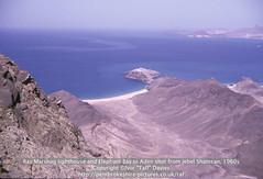 Ras Marshag lighthouse and Elephant Bay in Aden shot from Jebel Shamsan, 1960s