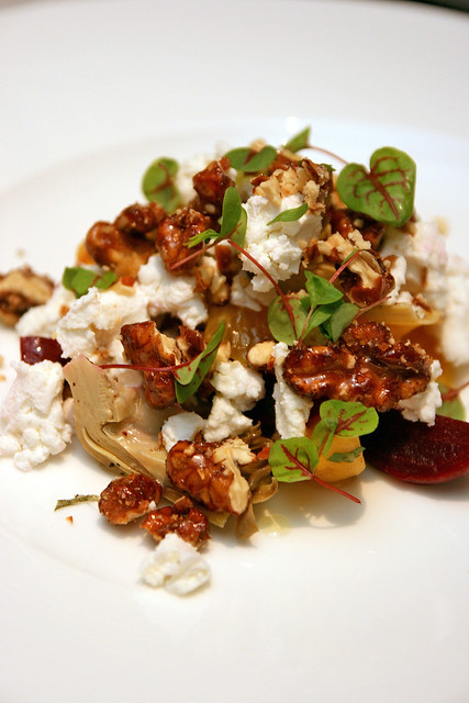 Baby Beet & Artichoke Salad with goat cheese, candied walnuts and orange segments