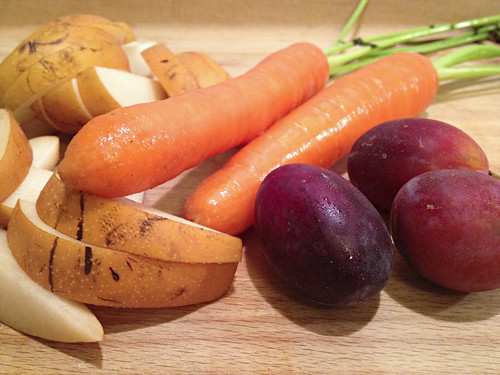 Asian pear, carrots, plums