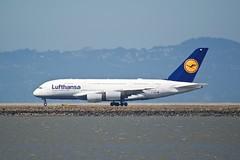 Lufthansa Airbus A380 D-AIMK  takeoff SFO runway 28R DSC_1121