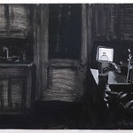 Night Kitchen II (b/w); acrylic on paper, 22 x 30 in, 1990