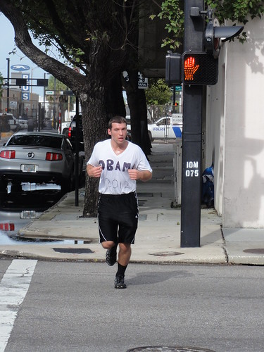 "Jogger with ""Obama 2012"" handwritten onto shirt"