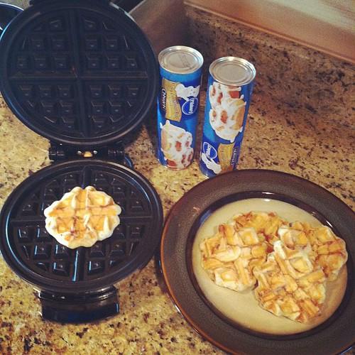 Cinnabon cinnamon roll waffles!! Thank you Pinterest!! #hickscabintrip12