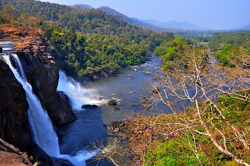 Panoramic view of Athirapally waterfalls, Kerala-India