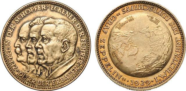 Zeppelin medal 1928 (silver, gilt)