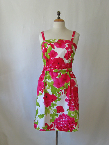 pink green dress on form