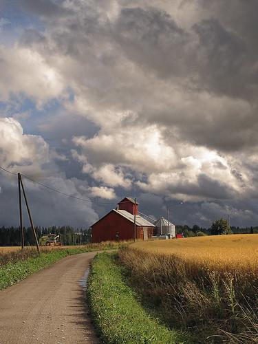 road storm clouds barn finland country harvest crop combine scandinavia harvester