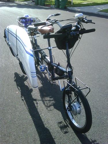 Bike Friday Tandem XL with surf board Side Racks